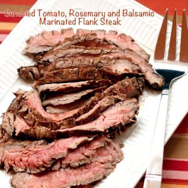 Sundried Tomato, Rosemary, and Balsamic Marinated Flank Steak | cupcakesandkalechips.com #steak #grilling #beef