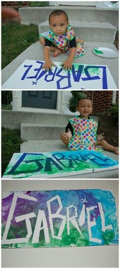 Apply tape to a canvas and let your toddler paint his or her little heart out! Remove tape and VOILA!