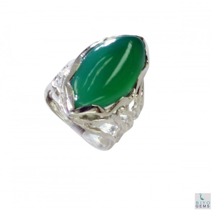 Riyo Courageous Green Onyx 925 Solid Sterling Silver Green Ring Srgon6-30004
