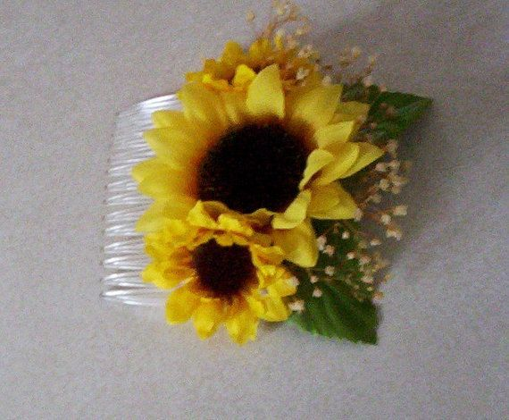 Sunflower Hair comb Woodland Natural babys breath Bridal party headpiece destination wedding hair accessory yellow wedding senior photos