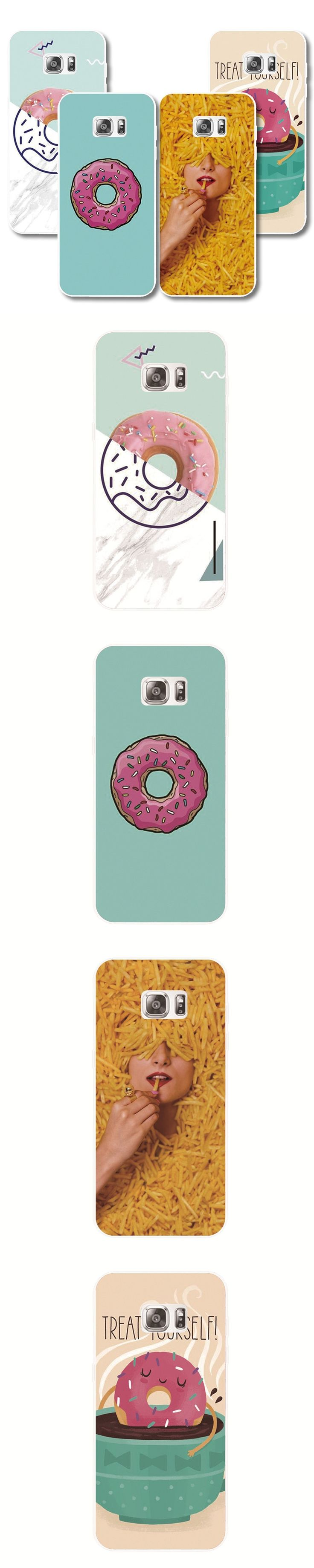 Fries & Donut Food pattern Plastic cover phone case For Samsung Galaxy S8 s6 s7 edge s5 s4 s3 s8 Plus protective shell