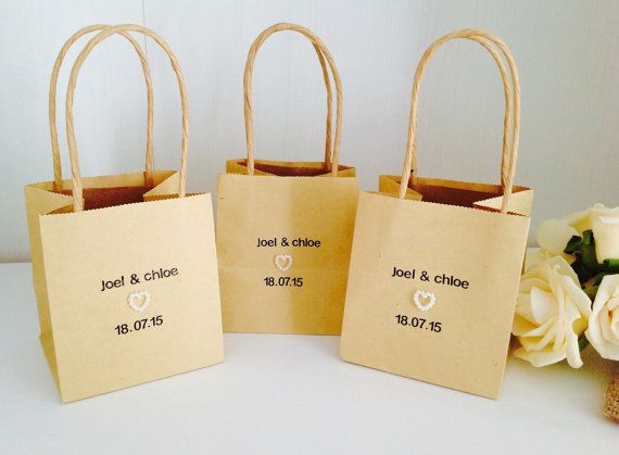 Personalised Wedding Favour Bags  Packs of by happyheartsdesignsuk