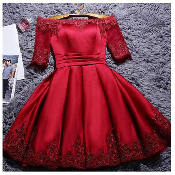 2017 New Wine Lace-up short Vestido prom party gown Plus size Cocktail dress