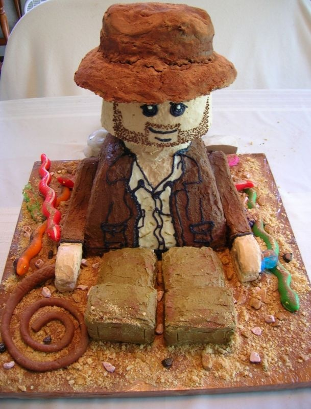 indianjones birthday party invitations printable%0A Indiana Jones Lego Man cake based off the lego set and game  Inspired by  Han Solo cake found in the gallery  Made out of cake  brownies  rice  krispies and