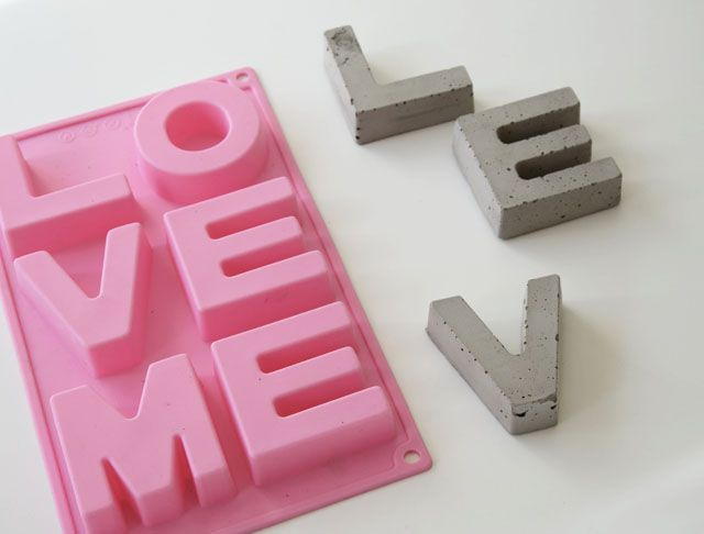 DIY Concrete Letters  I find a silicon form at a supermarket. It´s originally for baking but is great to make concrete letters in.    Mix the concrete as show on the package and fill the form. Follow the instructions for the right drying time. After you taken out the letters from the form you might need to sandpaper the edges, for that smooth feeling.