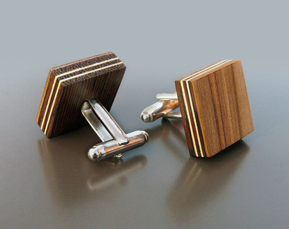 Wooden Cufflinks  Satin Walnut by BugAccessories on Etsy, $35.00