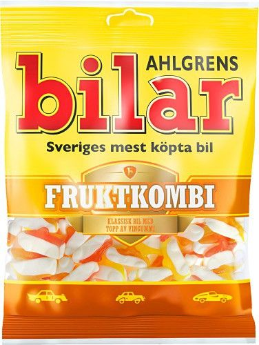 Ahlgren cars Fruit Combo is built on the existing base (foam), but with a brand new cover and interior made of wine gums.