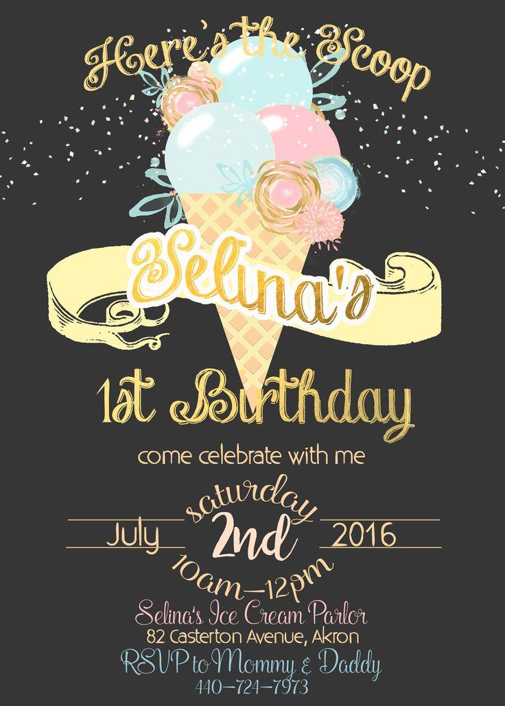 Ice Cream Birthday invitation Ice Cream Dark