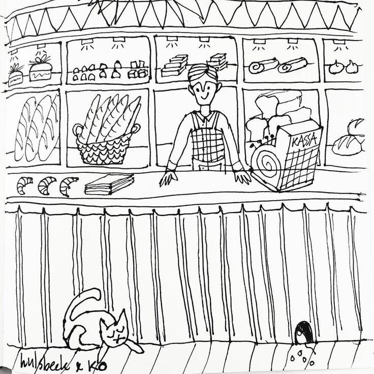 Todays drawing of a bakery shop #hulsbeekenko #illustratie