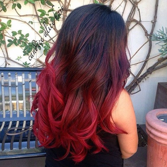 shades of red - red ombre hair styles 2017