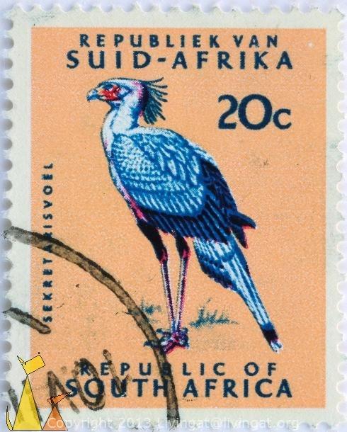 Secretary Bird. South Africa http://stamps.livingat.org/Search.aspx?nav=Search=country=/Republiek+van+Suid-Afrika