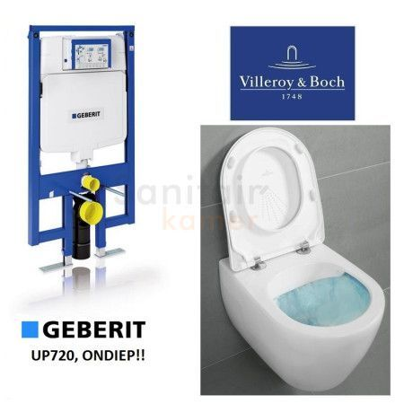 Geberit UP720 Toiletset, Villeroy en Boch Subway Direct flush