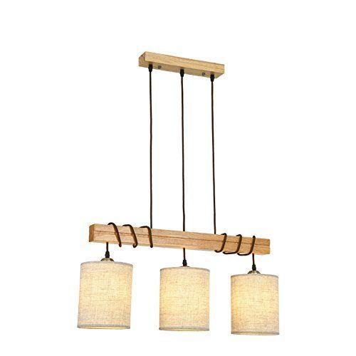 Cheerhuzz Nordic Retro Dining Room Wood Pendant Light Modern 3 Lights Art Loft Hotel Bar Kitchen