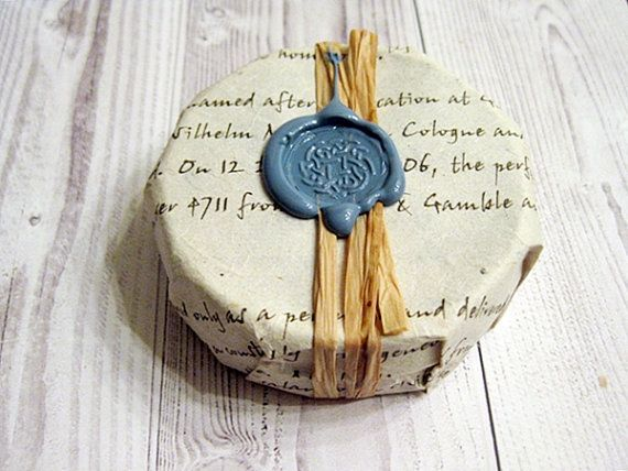 Shaving Soap in a Tin Wrapped in Seeded Paper Palm free soap 4-6 ounces