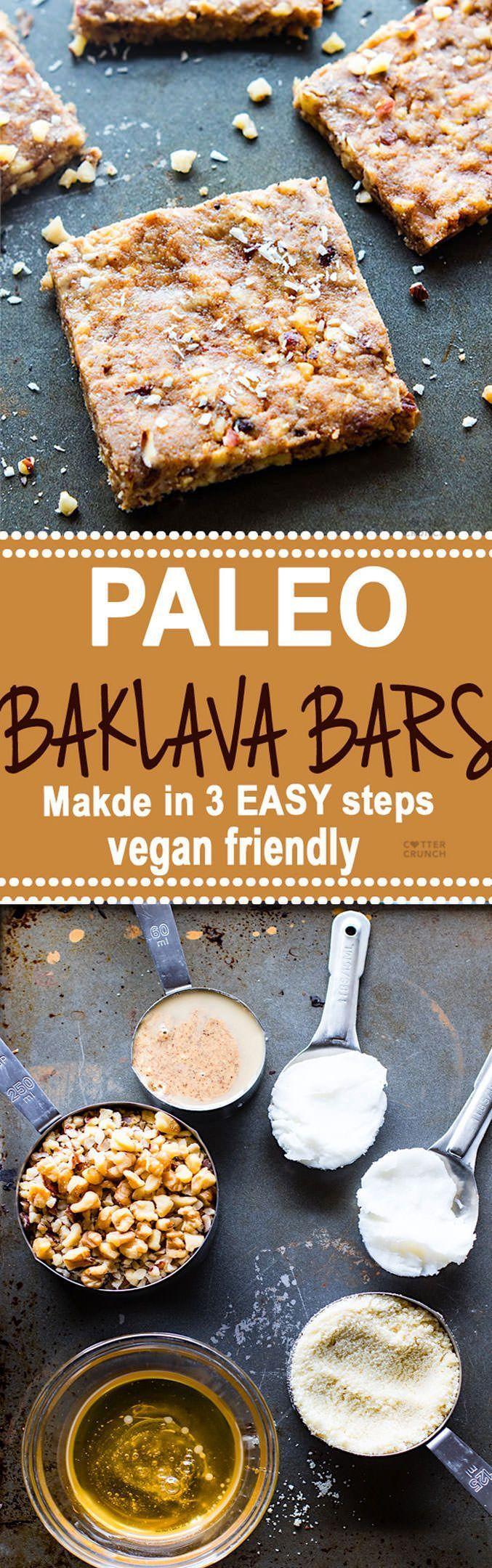 "EASY Paleo ""Baklava"" Bars (Vegan Friendly)"