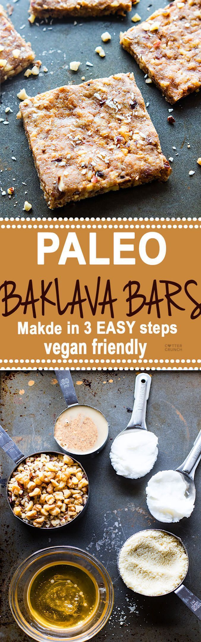 "Super easy 3 Step Paleo ""Baklava"" Bars! healthy vegan friendly bars that are packed full of sweet nutty flavor and healthy fats. Lower in carbs, sugar, and great for snacking."