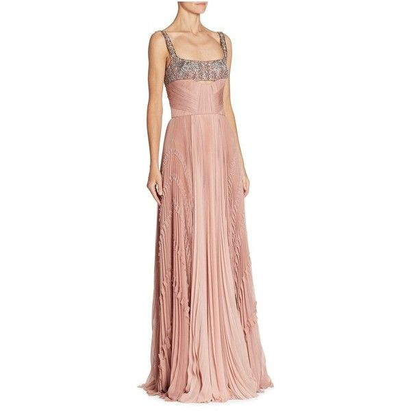 J. Mendel Embroidered Silk Gown (€6.195) ❤ liked on Polyvore featuring dresses, gowns, gown, pink, pink evening gowns, pink evening dress, red silk gown, pink ball gown and sequin evening gowns