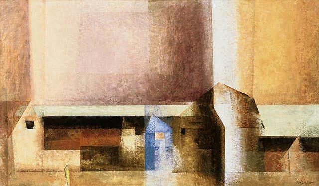 Lyonel Feininger - Village, 1927 | Oil on canvas | 16 7/8 x 28 1/2 in.