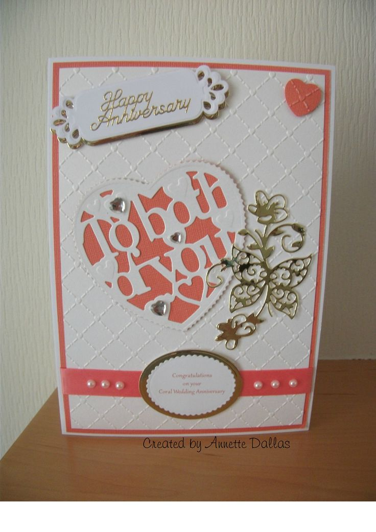 wedding anniversary card pictures%0A Card for a Coral Wedding Anniversary using Tonic dies