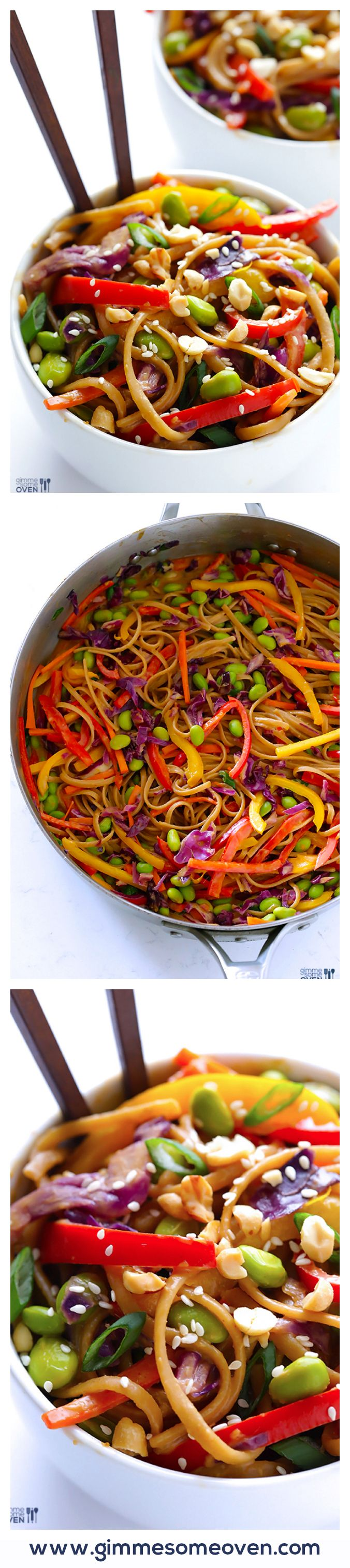Easy Rainbow Peanut Noodles -- made with lots of fresh veggies, whole wheat pasta, and a CRAZY delicious peanut sauce! (for Vegan sub maple syrup for honey - for GF use gf pasta)