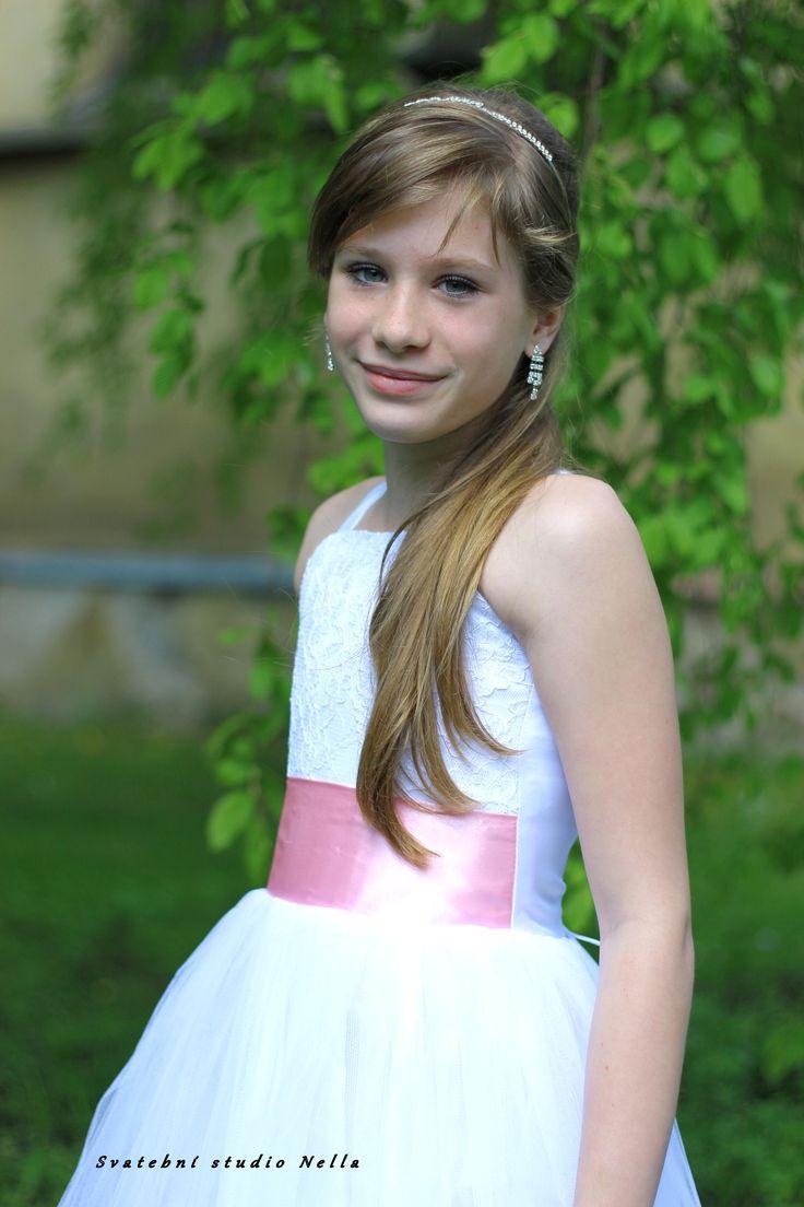 Dětské bílé šaty na svatbu - dětské šaty pro družičky