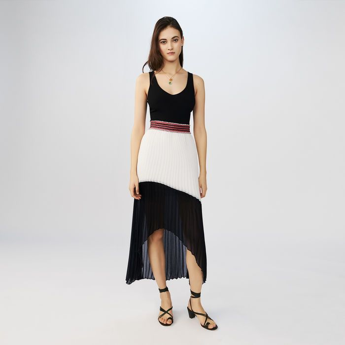RUDDY Robe longue plissée bicolore Robes | Maje Paris