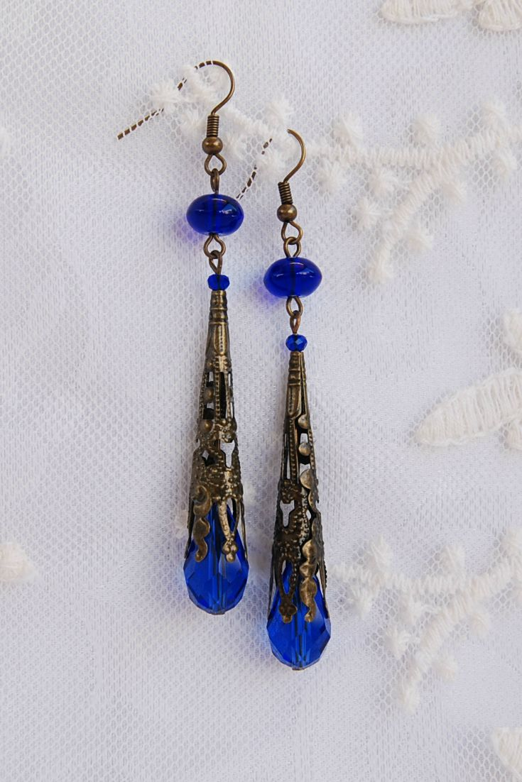 Royal Blue Earrings, Cobalt Blue Earrings,  Statement Blue Earrings, Victorian Earrings, Wife Blue Gift, Navy Blue Earring, Bronze Earrings, Long Art Deco Earrings,  Edwardian earrings, Downton Abbey, Tudor Jewelry, Women's Gift, Gift for her