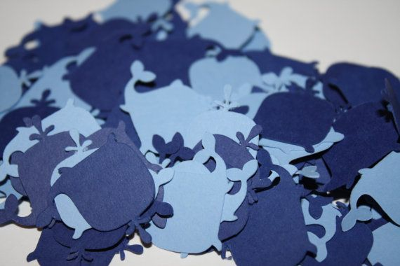 Whale Confetti Birthday or Baby Shower - Navy and Light Blue 100 pieces