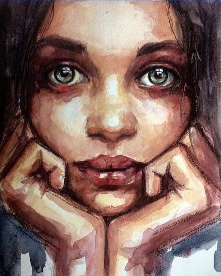 Acryl-Portrai, Aquarellmalerei von Lauren Rudolph …