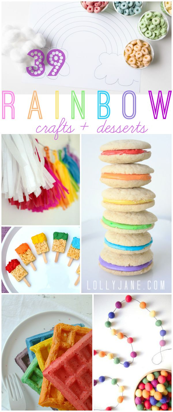 Rainbow Crafts & Desserts, 39 fun rainbow themed ideas! |via lollyjane.com #rainbow