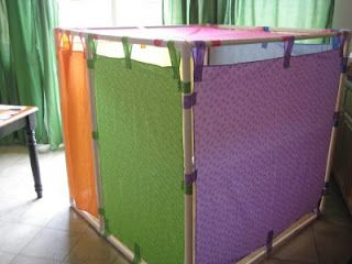 Like quilt show hangers for room dividers. Turning Stones Blog: PVC pipe