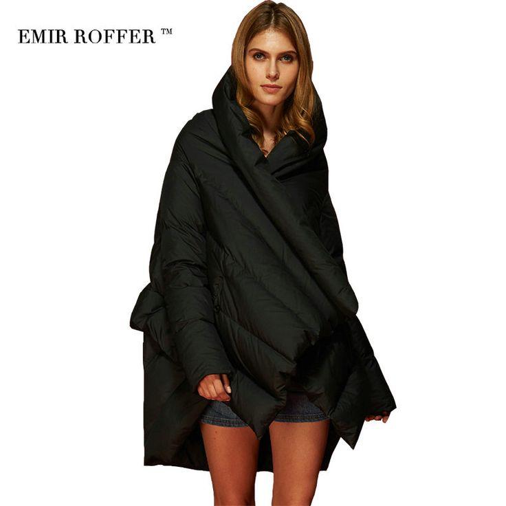 EMIR ROFFER 2017 Moda damska Kurtka Puchowa Parka Cloaks Europejski Projektant Asymetryczne Długość Anorak Płaszcz Zimowy Z Kapturem Kobiet