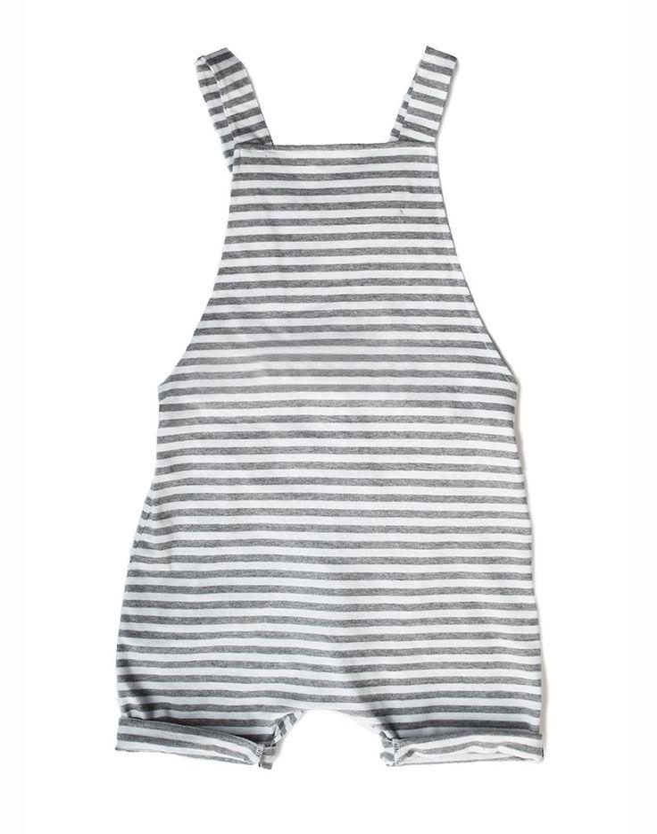 Gray Label Organic Short Leg Salopette In Striped Grey