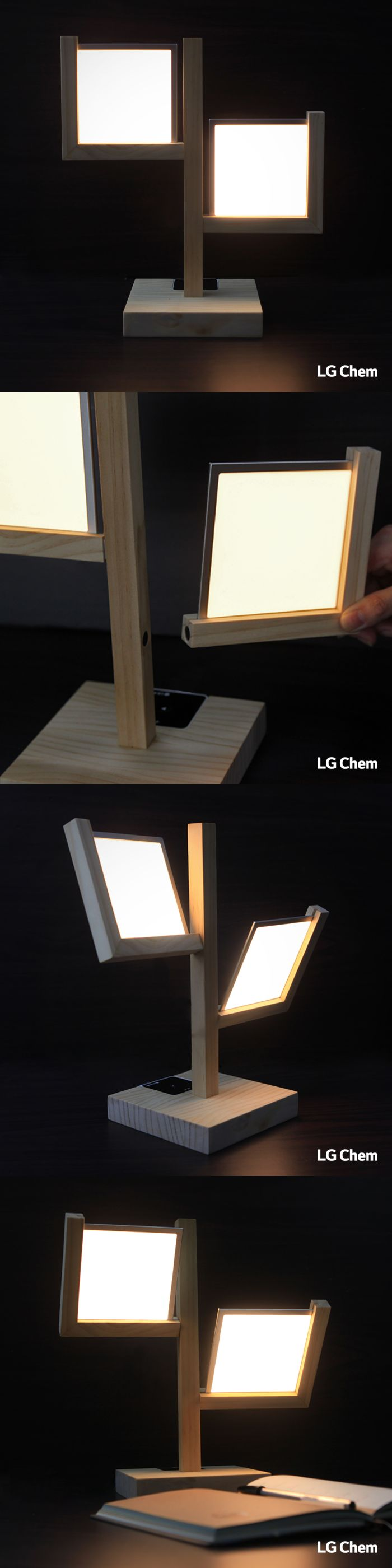 This table lamp was made with an LG Display OLED lighting Double Kit. Magnets…