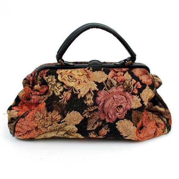Vintage Tapestry Purse / Floral Tapestry Bag / Retro Carpet