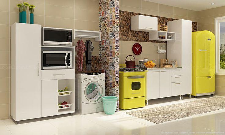 Lojas KD Cozinha Modulada Completa com Lavanderia Área de Serviço Integrada Branco Caaza R$1.056,84 À VISTA