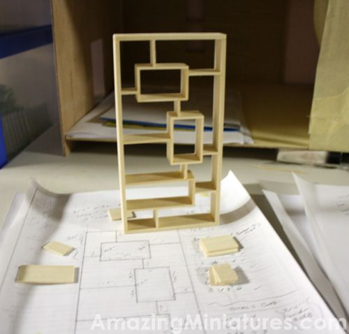 Making A Modern Dollhouse Bookcase #diy #bookcase #dollhouse #mini #miniature #modern