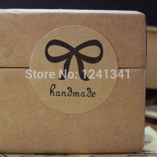 Vintage Handmade Round Bow design Brown Kraft Paper Seal Label Sticker for Gift Packing/Nice Retro Sticker/wholesale Size 30mm