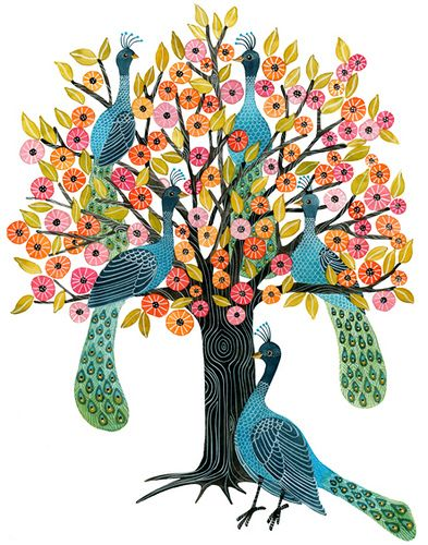 Peacock Tree, watercolor & acrylic inks on paper, by Geninne Zlatkis. Her skills are amazing.