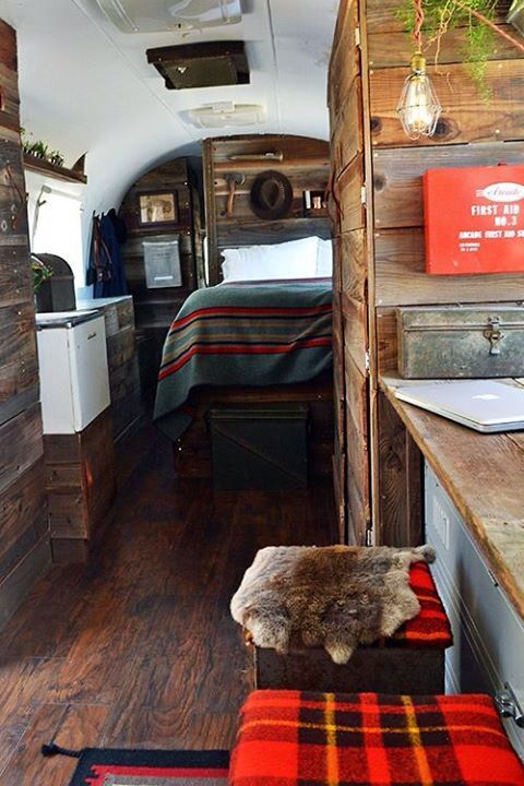 Love this style - Rustic camper with vintage red accents