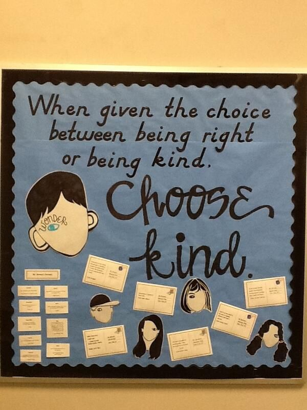 "Bulletin board idea for ""Wonder"" by R.J. Palacio @Diane Haan Lohmeyer Haan Lohmeyer Haan Lohmeyer Z Dee Thompson"