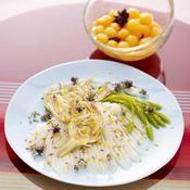 Raie � la vapeur de thym et p�tales d'artichaut cru - une recette All�g� - Cuisine
