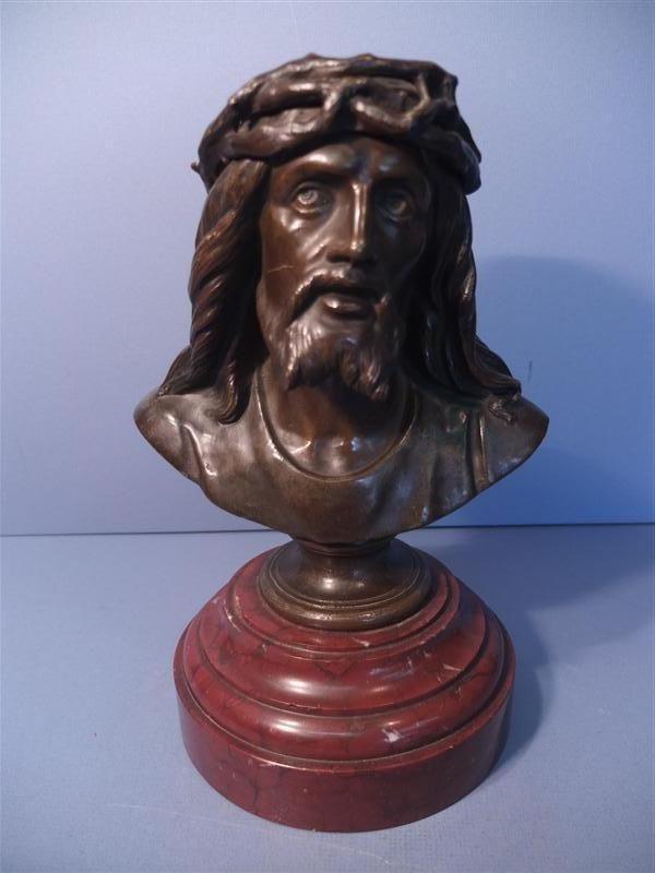 Alte Büste, Bronze, Christus mit Dornenkrone, wohl um 1880/1900