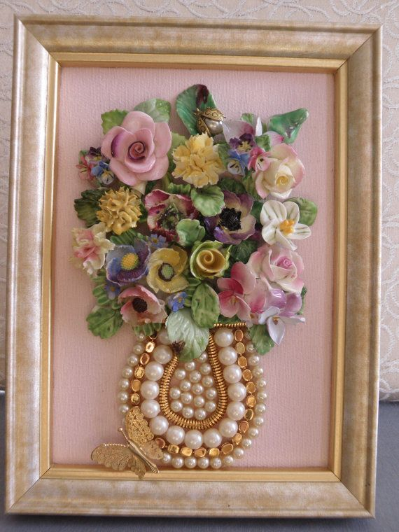 One-of-a-Kind Framed Vintage Jewelry Art Vase of Porcelain Flowers Pink Yellow…