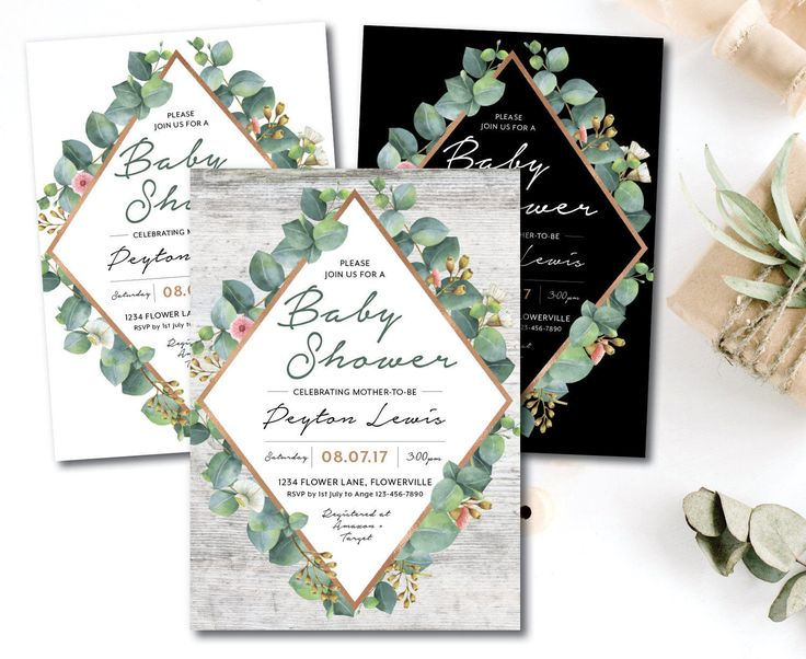 Greenery geometric baby shower invitation, eucalyptus baby shower invitation, natural, greenery, rose gold, garden, boho, vintage (Peyton) by FrankieBearDesigns