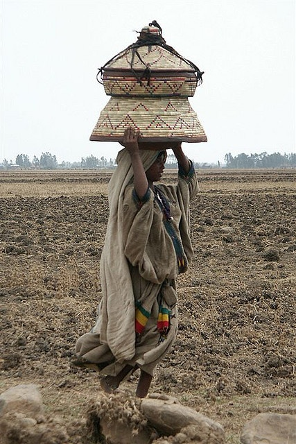 Africa | Girl carrying basket on her head; used as a table and as a recipient to transport the food. Ethiopia.