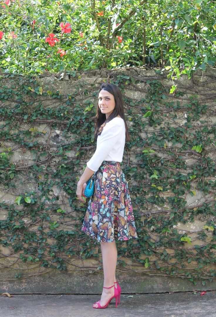 Blog Caca Dorceles. 2014. Meu look: Saia Rodada. Blouse Zara + Tigresse skirt…