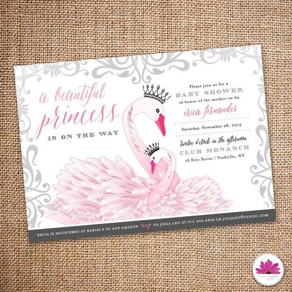 baby shower invitation princess swan theme digital file baby