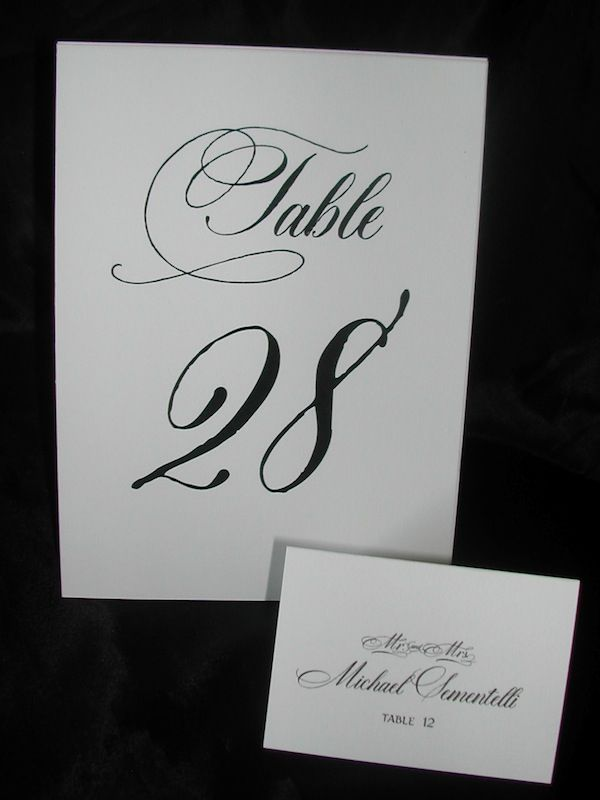 cursive fonts for wedding cards%0A Table Numbers and Place Cards in Calligraphy font Dom Loves Mary by  Lettering Art Studio