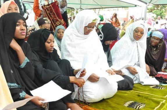 Aisha Buhari children observe Eid el-Kabir prayers in Abuja